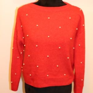 Red Sweater with Pearls